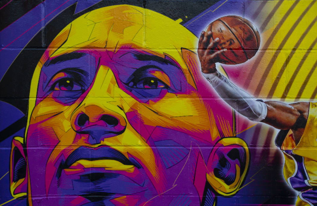 A mural featuring Kobe Bryant, created by Eric Meidenbauer, outside of Candid Worldwide at 4795 ...