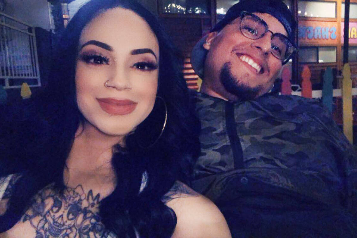 Junior David Lopez with his fiance, Amber Bustillos. Lopez was shot and killed by Las Vegas pol ...
