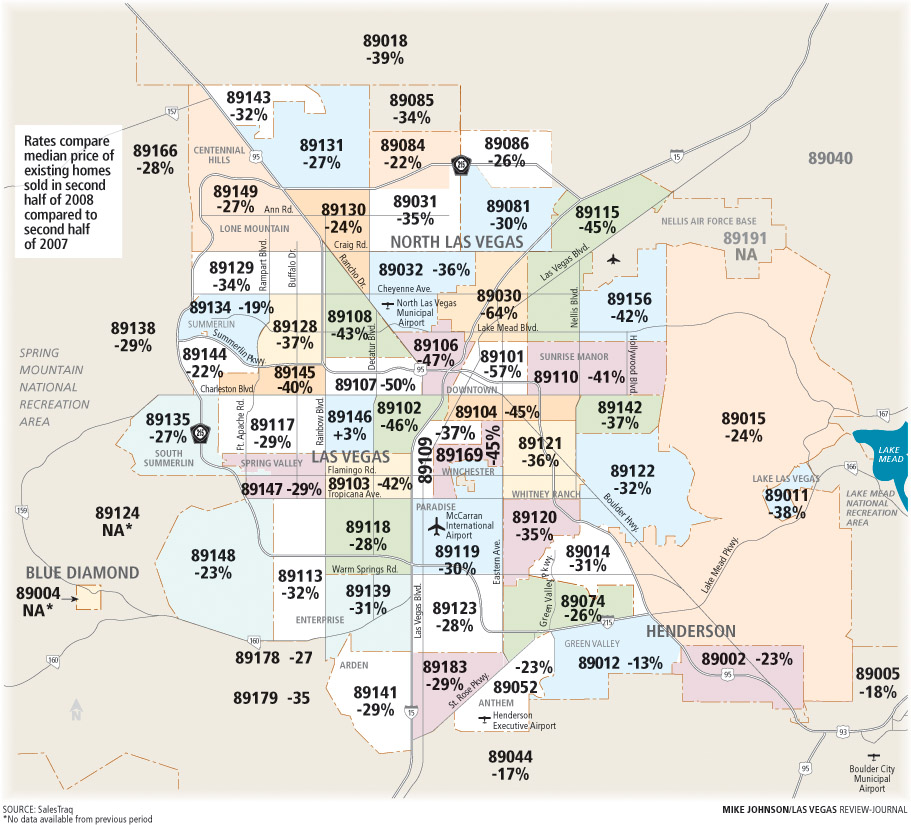 Bakersfield Zip Code Map Recession sends home values down in many Las Vegas Valley ZIP