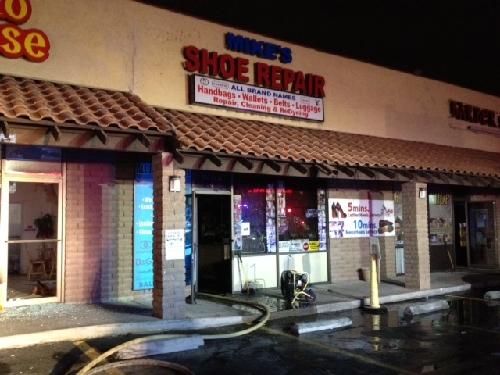 Fire Damages Shoe Repair Shop At Strip Mall Las Vegas