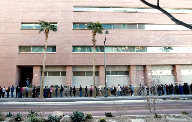 A line of people waiting to gain entrance to the Regional Justice Center stretches south along South Casino Center Boulevard on Jan. 22. Lines often extend a full block out from the center and the ...