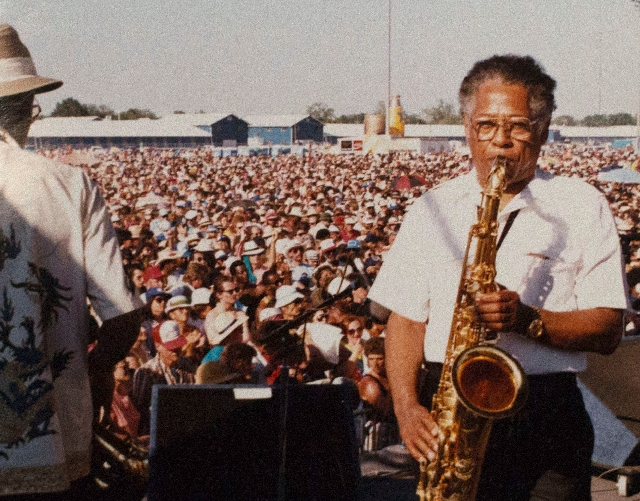 Herb Hardesty plays at the New Orleans Jazz Festival in an undated photo.