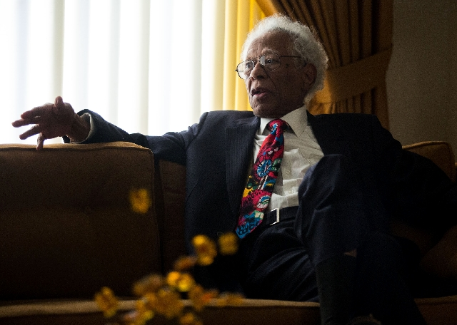 Herb Hardesty talks about his career Tuesday at his home in Las Vegas. Hardesty, originally from New Orleans, played saxophone for Fats Domino for 30 years.