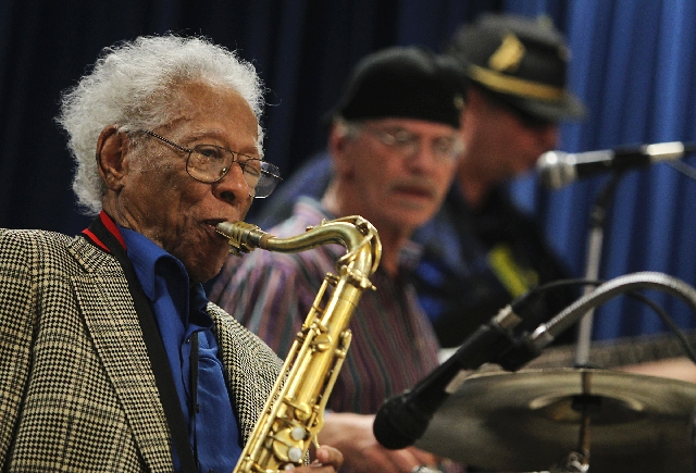 Legendary musician Herb Hardesty plays his sax Feb. 1 for students at Gray Elementary School in Las Vegas, along with Jimmy Prima and George Doty. Hardesty, who has lived in Las Vegas since 1971,  ...