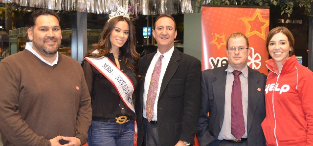 Marking the success of their joint blood drive are, from left, Danny Cervantes, regional donor recruitment director with United Blood Services; Kristie Gulia Jelinski, 2012 Mrs. Nevada America; Do ...