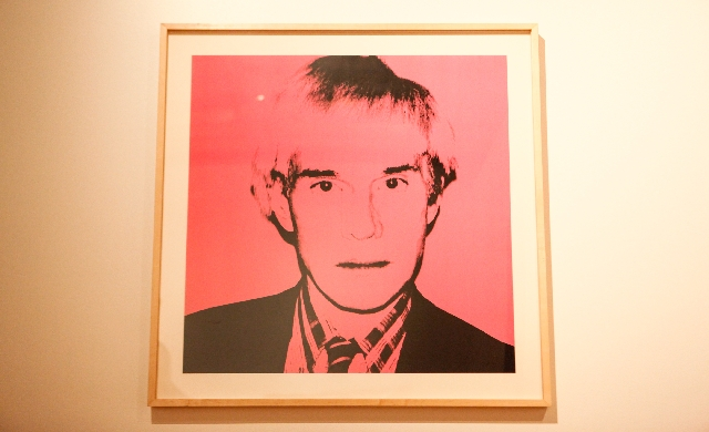 "A 1982 Andy Warhol self-portrait is seen at the Bellagio Gallery of Fine Art as part of the ""Warhol Out West"" exhibition that will be on display through Oct. 27."