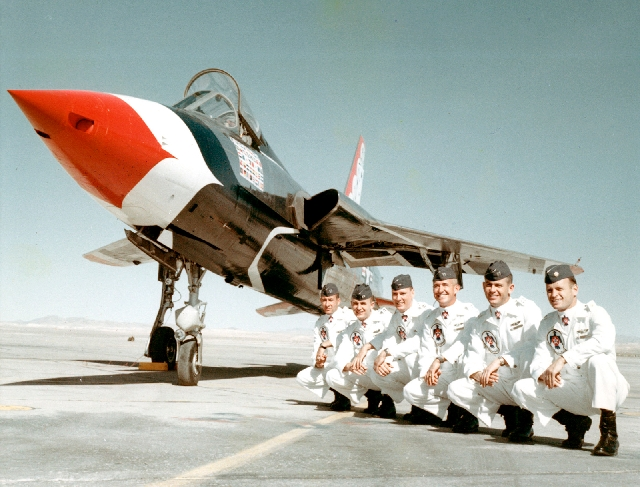 Capt. Gene Devlin, second from right, is shown with other Thunderbirds pilots in this undated photo. Devlin was killed in a 1964 crash of an F-105 Thunderchief in California. A model replica of De ...