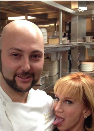 Comedian Kathy Griffin put her tongue to work on Lavo chef Massimiliano Campanari.