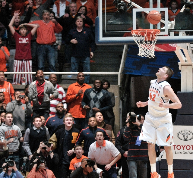 Illinois fans are held in suspense along with senior forward Tyler Griffey as his layup drops into the basket at the buzzer to give the Fighting Illini a 74-72 upset victory over No. 1 Indiana on  ...