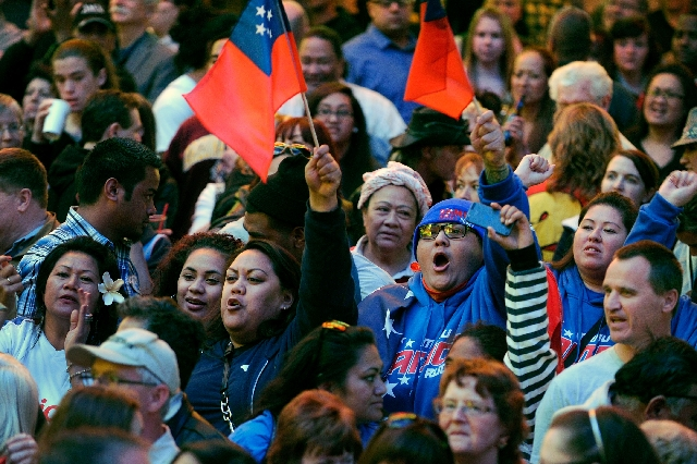 Rugby fans cheer for their teams Thursday during the Parade of Nations at the Fremont Street Experience. Last year's USA Sevens event drew 64,107 fans to Sam Boyd Stadium.