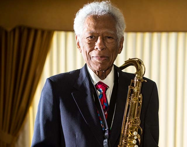 Herb Hardesty holds his saxophone Jan. 29 at his Las Vegas home. Originally from New Orleans, Hardesty toured with R&B legend Fats Domino for more than 30 years and has performed with the likes of ...