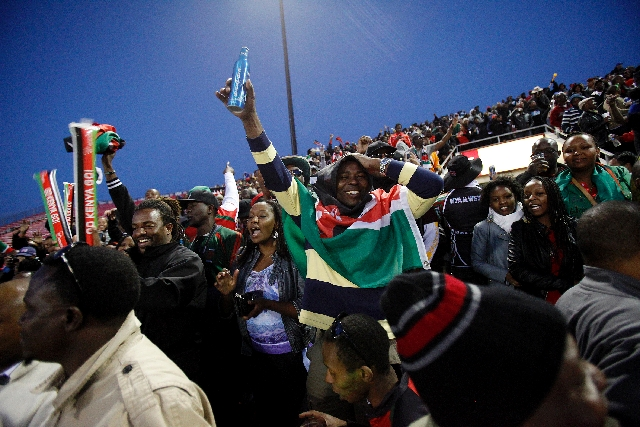 Kenya fans cheer their team against South Africa on Saturday during the USA Sevens rugby tournament at Sam Boyd Stadium. The Kenyans suffered a 15-5 loss in pool play.