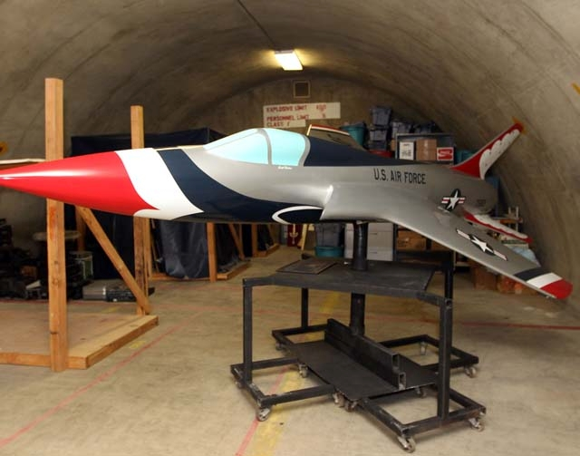 A replica of the U.S. Air Force Thunderbirds' F-105 Thunderchief is seen Jan. 24 in a storage area of Nellis Air Force Base . The model, which was originally displayed at the main gate of th ...