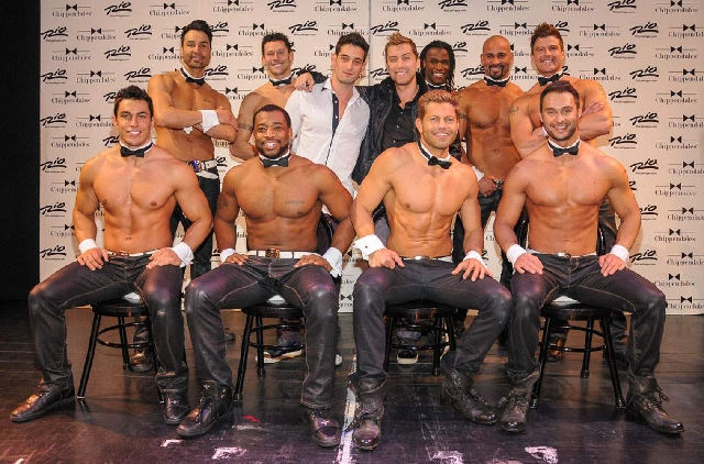 Michael Turchin and Lance Bass pose at Chippendales on Friday.