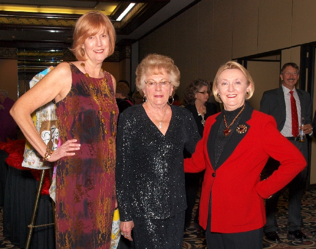 Linda Shapona, from left, Nancy Zangl and Patti Russell at the Mesquite Club benefit