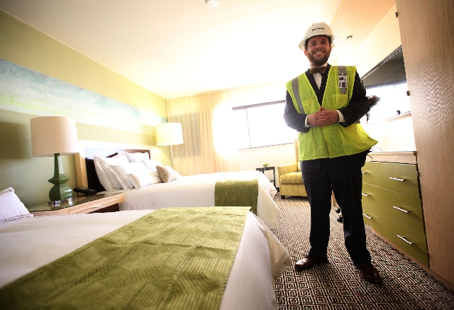 Zachary Conine, chief operating officer of the Downtown Grand, gives a tour to media Tuesday at the site of the future hotel and casino in Las Vegas. The new resort, which will have 650 hotel room ...