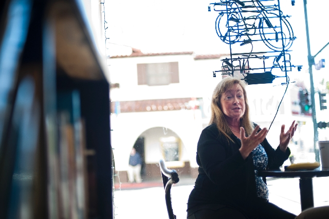 Terry Murphy talks about her new role as president of the Downtown Las Vegas Alliance inside The Beat Coffeehouse & Records, 520 Fremont St., Feb. 13. Murphy said the biggest issue facing downtown ...