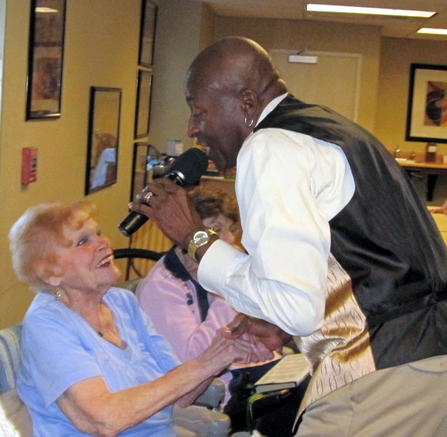 """Frances M., 96, is serenaded by Leon Gilliam, formerly of The Buck Ram Platters, Feb. 11 to make her """"dream"""" come true at Silver Sky Assisted Living, 8220 Silver Sky Drive. Second Wind ..."""