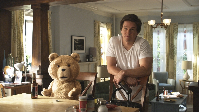 "With its potty mouth and drug habits, the teddy bear in ""Ted,"" seen here with Mark Wahlberg, surely wasn't fit for kids."