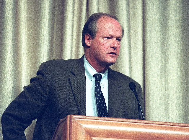 Bill Eadington speaks Dec. 12, 2001, at the Governor's Conference on Travel and Tourism.