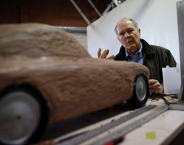 Car designer Peter Brock shows a clay model of a car Thursday in Brock Racing Enterprises, a 5,300-square-foot shop at 342 SunPac Court, near Sunset Road and Boulder Highway in Henderson.