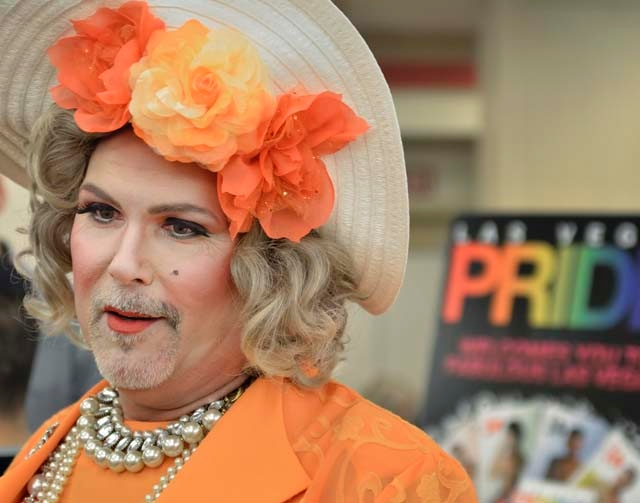 "Norma Llyaman, aka Jim McCoy, was on hand to represent Las Vegas Pride during the ""Same Love, Same Rights"" Wedding Expo. McCoy is on the board of directors of Las Vegas Pride."