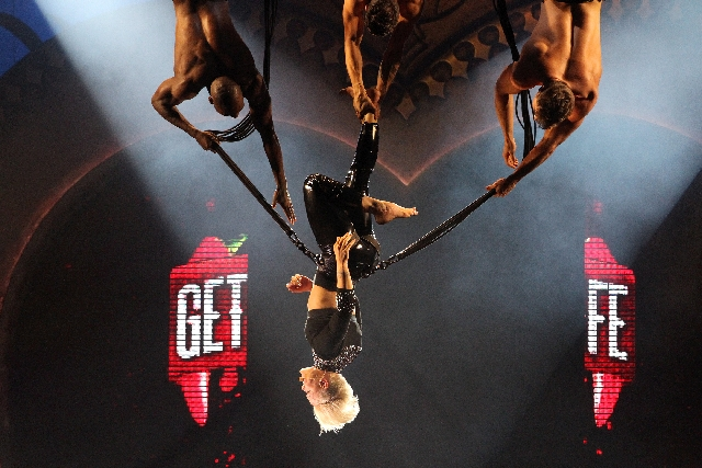 "Pink sings ""Raise Your Glass"" while performing aerial stunts during her concert at Mandalay Bay Events Center on Friday."