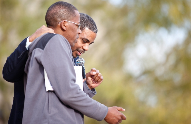 U.S. Rep. Steven Horsford, D-Las Vegas, speaks to the crowd Saturday with Clark County Commissioner Lawrence Weekly, left, during the Black History Month Festival at the Springs Preserve. Horsford ...