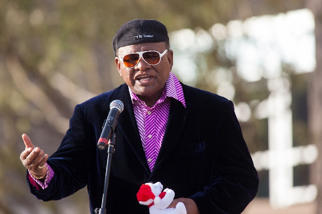 Comedian George Wallace speaks Saturday during the Black History Month Festival at the Springs Preserve.