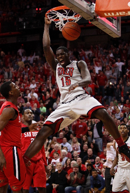 UNLV freshman forward Anthony Bennett throws down a one-handed dunk on his way to a team-high 21 points in the Rebels' 72-70 victory over the Aztecs on Saturday night at the sold-out Thomas  ...