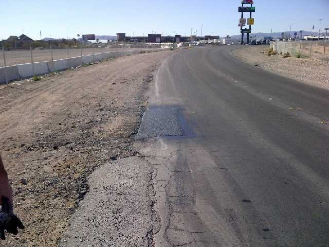 After an alert from the Road Warrior, Clark County patched this pothole on Dean Martin Parkway just north of Blue Diamond Road. That's service!
