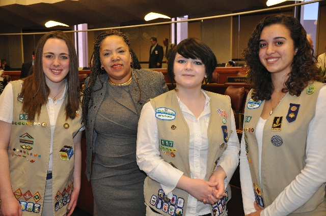 From left, Delaney Mott, District No. 7 legislator Dina Neal, Ashley Smith and Victoria Garcia pause Feb. 4 during a flag ceremony hosted by Girl Scouts of Southern and Sierra Nevada during the op ...