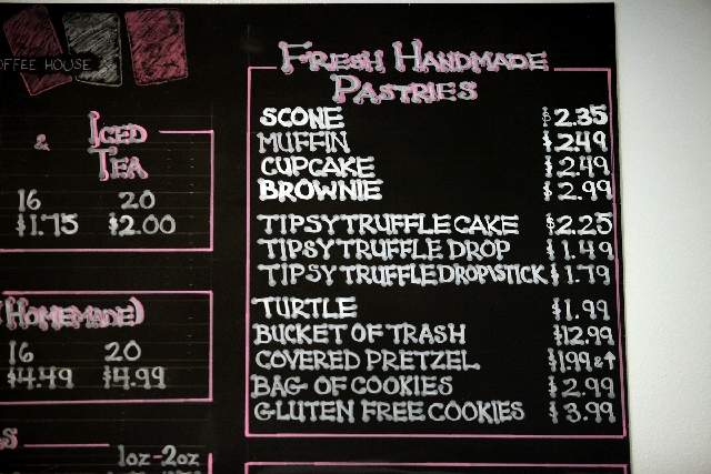 In addition to its truffles made with alcohol, the Tipsy Coffee House menu includes a wide assortment of pastries.