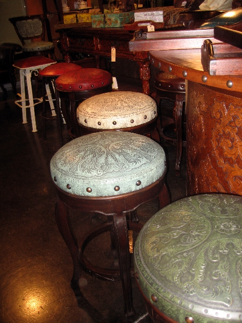 Embossed leather stools look great and will go with any décor.
