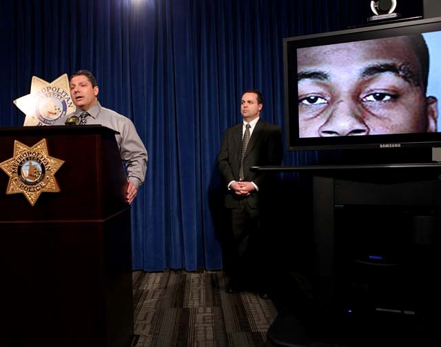 Lt. Ray Steiber, left, and Capt. Chris Jones talk Monday about Thursday's deadly shooting and car crash on the Strip.