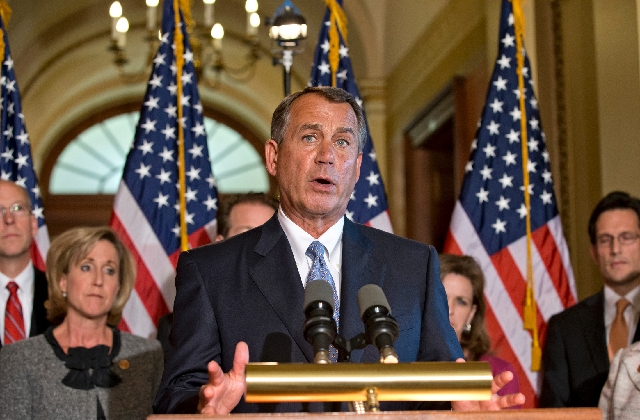 House Speaker John Boehner, R-Ohio, accompanied by fellow members of the House GOP leadership, responds to President Barack Obama's remarks to the nation's governors earlier Monday abo ...