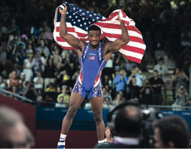 American Jordan Burroughs rejoices after winning the gold medal in 74kg freestyle wrestling at the London Olympics. Wrestling probably will cease to be an Olympic sport in 2020.