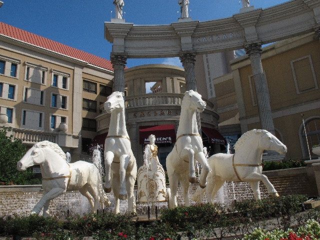Statues of a Roman centurion and horses greet visitors to Caesars Atlantic City, seen Oct. 3, 2011. Casino companies are racing to line up partners for online gambling.