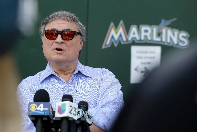 Marlins owner Jeffrey Loria, shown Tuesday outside his team's spring training facility in Jupiter, Fla., figures to field a team this year with a majors-low $45 million payroll.