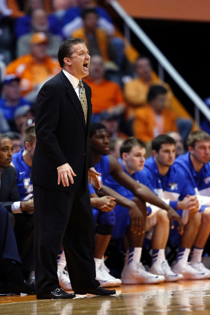 Kentucky coach John Calipari shouts instructions to his team during the Wildcats' 88-58 loss to Tennessee on Feb. 16. Andy Glockner of SI.com and Bruce Marshall of The Gold Sheet project Ken ...