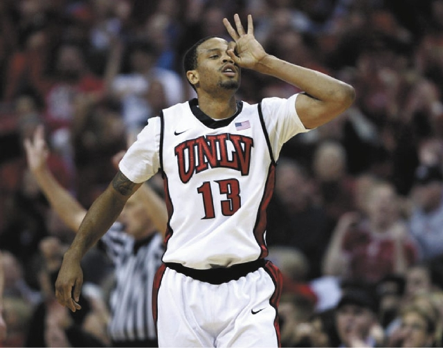 Bryce Dejean-Jones of UNLV celebrates after hitting a three-pointer against Colorado State in Las Vegas Tuesday, Feb. 20.