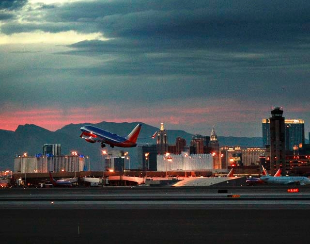 A Southwest Airlines plane takes off at McCarran International Airport on Feb. 6. Data show 3.1 million people passed through McCarran in January, a 1.6 percent drop from a year ago.