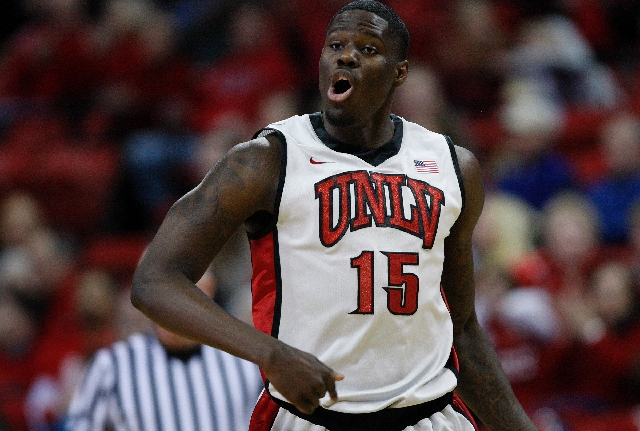 Freshman Anthony Bennett, shown here celebrating  after scoring against Air Force at the Thomas & Mack Center Saturday, January 12, leads UNLV in scoring and rebounding.