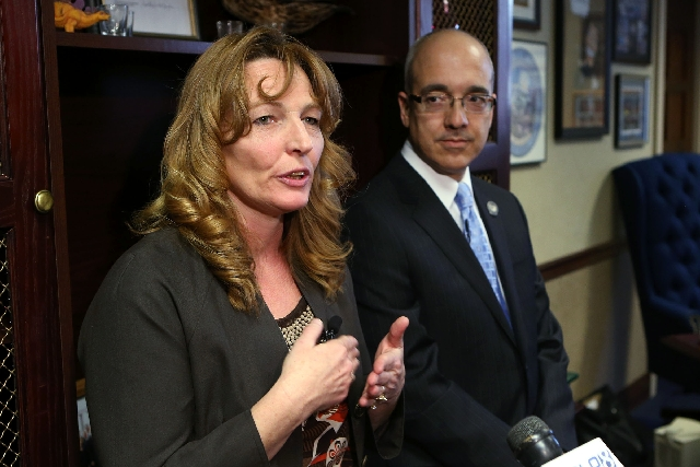 Senate Majority Leader Mo Denis, shown at a Feb. 12 news conference with Assembly Speaker Marilyn Kirkpatrick, has warned colleagues to be prepared to work late today. Lawmakers have asked lawyers ...