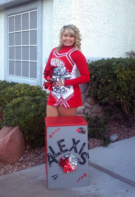 When not behind the wheel of her dragster, Alexis Thompson, 18, is a cheerleader at Arbor View High School, where she is a senior.