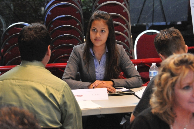 """Janegela Cretty interviews with an engineering firm Feb. 19 at the University of Nevada, Las Vegas. Engineering students conducted 13 """"mock speed interviews"""" to get practice and introd ..."""