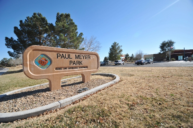 The Paul Meyer Park in Spring Valley is named for an Illinois native and entrepreneur who moved to Las Vegas in the 1970s. The Helen Meyer Community Center, at far right, is named for his wife. Pa ...