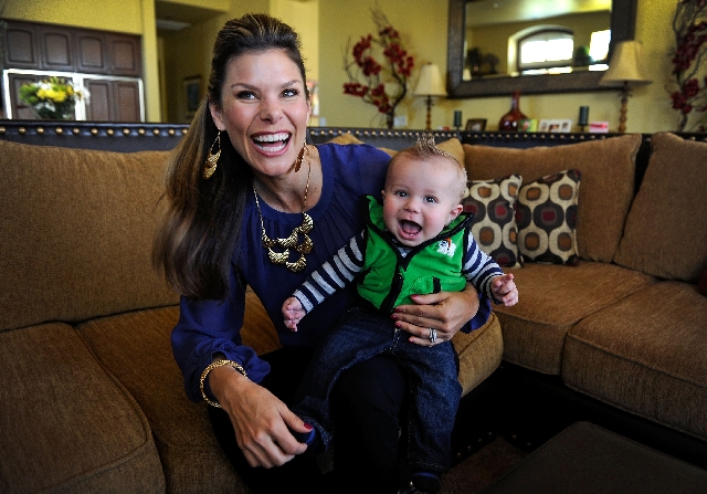Jamie Little and her 6-month-old son, Carter Selman, are shown at her Summerlin home on Feb. 26. Little is an ESPN on-air personality who serves as a pit reporter for the network's auto raci ...