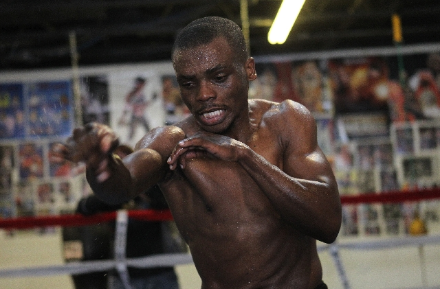 Lightweight Sharif Bogere works out at Long Life Fit Gym on Wednesday in preparation for his WBA title fight against champion Richard Abril tonight at the Hard Rock Hotel.