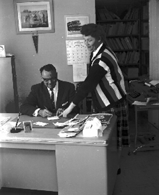 Robert Taylor, shown at his desk in 1957, is the namesake for Robert Taylor Elementary School and Taylor Street.